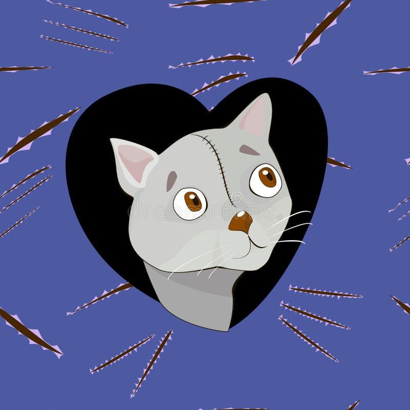 Γκρίζα γάτα κινούμενων σχεδίων στην καρδιά στο υπόβαθρο γρατσουνιών διανυσματική απεικόνιση