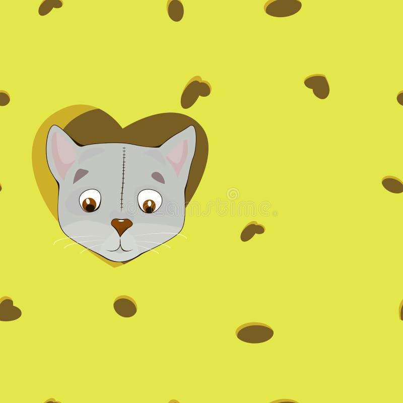 Γκρίζα γάτα κινούμενων σχεδίων στην καρδιά στο υπόβαθρο τυριών απεικόνιση αποθεμάτων