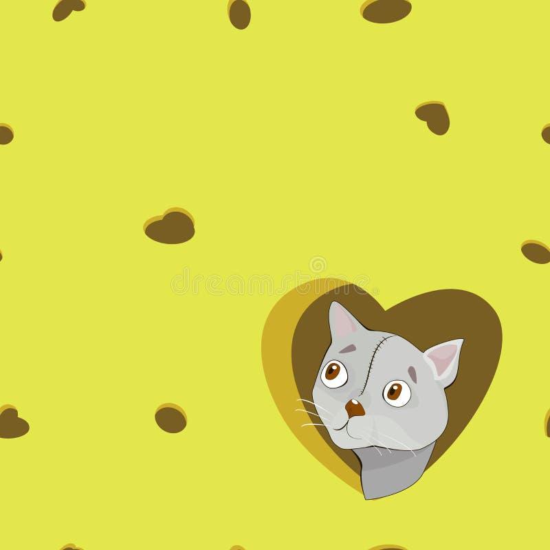 Γκρίζα γάτα κινούμενων σχεδίων στην καρδιά στο υπόβαθρο τυριών ελεύθερη απεικόνιση δικαιώματος