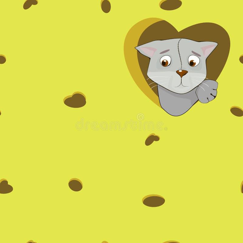 Γκρίζα γάτα κινούμενων σχεδίων στην καρδιά στο υπόβαθρο τυριών διανυσματική απεικόνιση