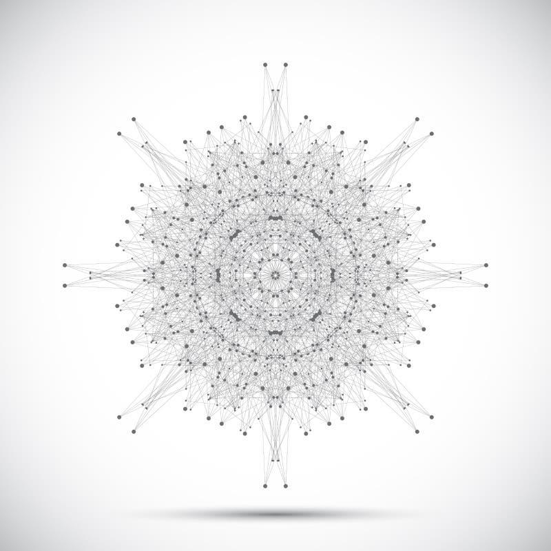 Γκρίζα γεωμετρική μορφή με τις συνδεδεμένα γραμμές και τα σημεία επίσης corel σύρετε το διάνυσμα απεικόνισης διανυσματική απεικόνιση