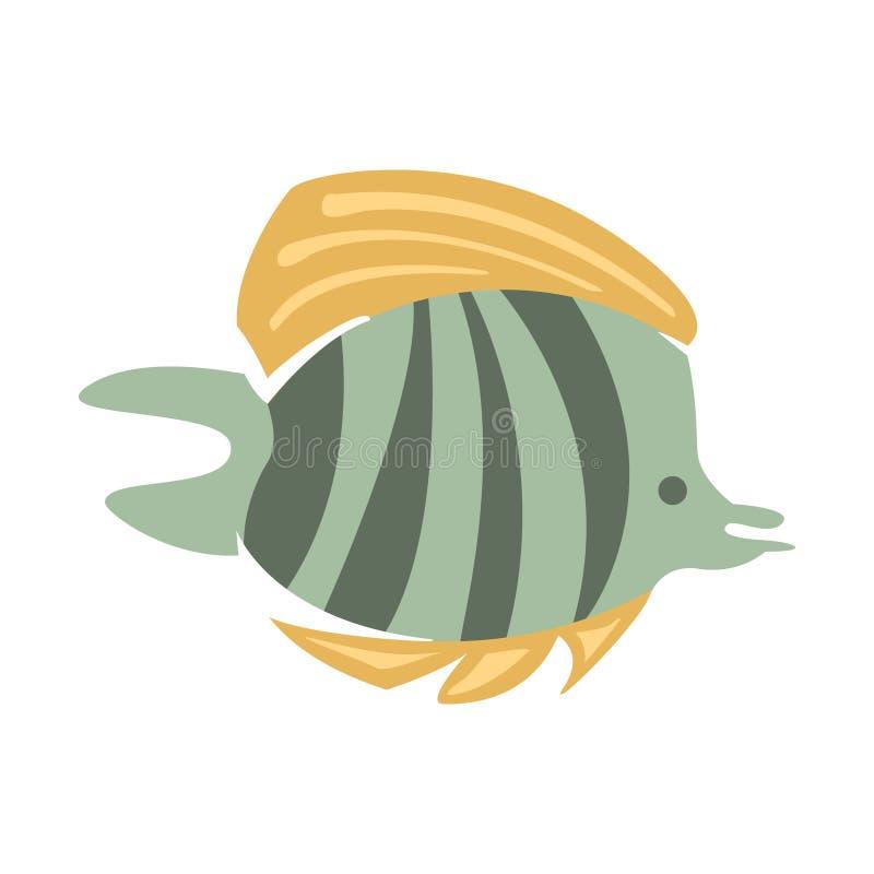 Γκρίζα και κίτρινα ψάρια πεταλούδων, μέρος των θαλασσίων ζώων Μεσογείων και σειρά απεικονίσεων ζωής σκοπέλων διανυσματική απεικόνιση