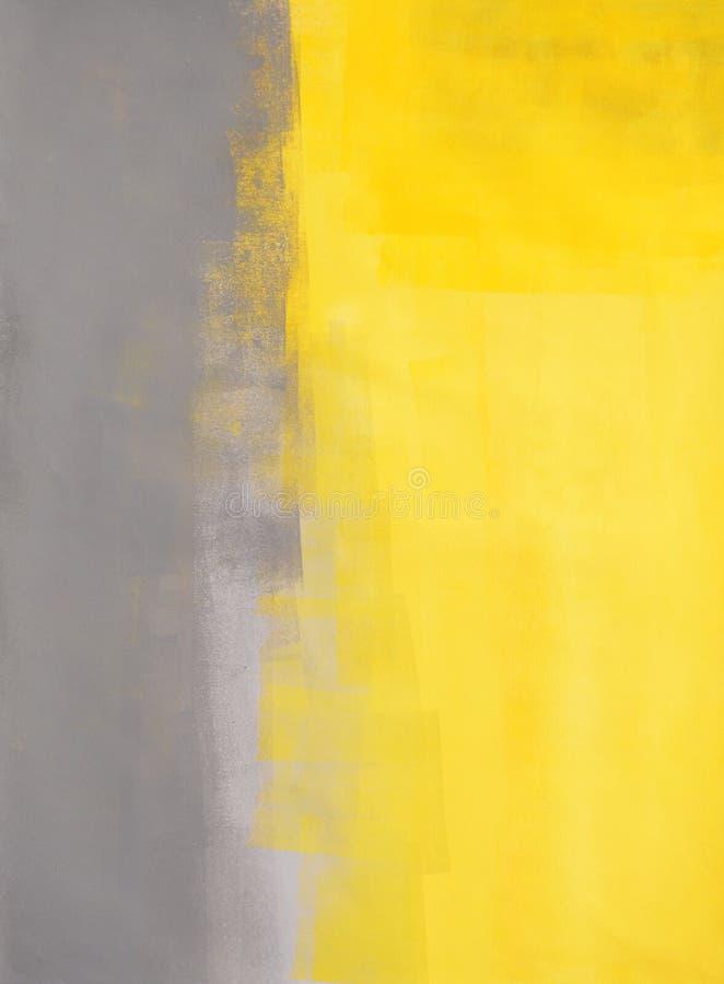 Γκρίζα και κίτρινη αφηρημένη ζωγραφική τέχνης στοκ εικόνες με δικαίωμα ελεύθερης χρήσης