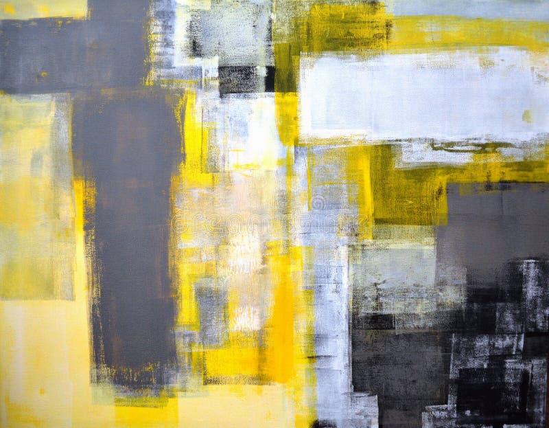 Γκρίζα και κίτρινη αφηρημένη ζωγραφική τέχνης στοκ εικόνες