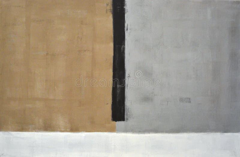 Γκρίζα και καφετιά αφηρημένη ζωγραφική τέχνης στοκ εικόνα