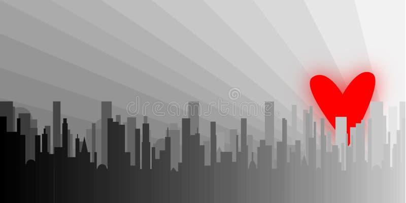 Γκρίζα καρδιά πόλεων διανυσματική απεικόνιση