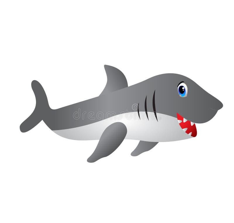 Γκρίζα κινούμενα σχέδια καρχαριών με τα δόντια ελεύθερη απεικόνιση δικαιώματος