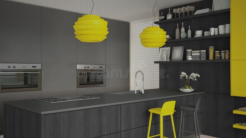 Γκρίζα κουζίνα Minimalistic με τις ξύλινες και κίτρινες λεπτομέρειες, ελάχιστα διανυσματική απεικόνιση
