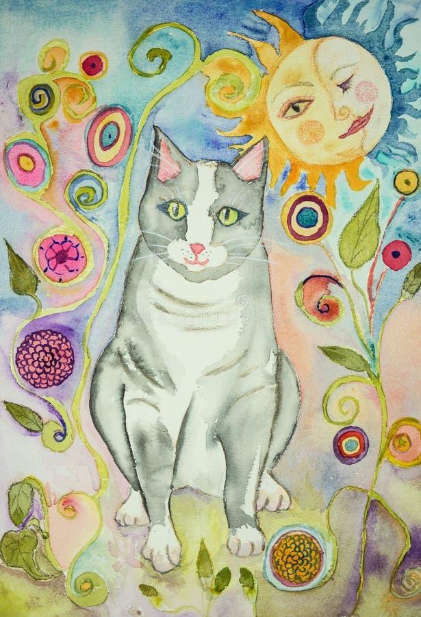 Γκρίζα λαϊκή γάτα τέχνης με το φίλημα ήλιων και φεγγαριών διανυσματική απεικόνιση