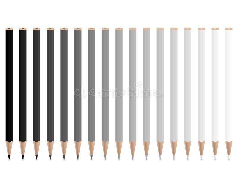 γκρίζα μολύβια διανυσματική απεικόνιση