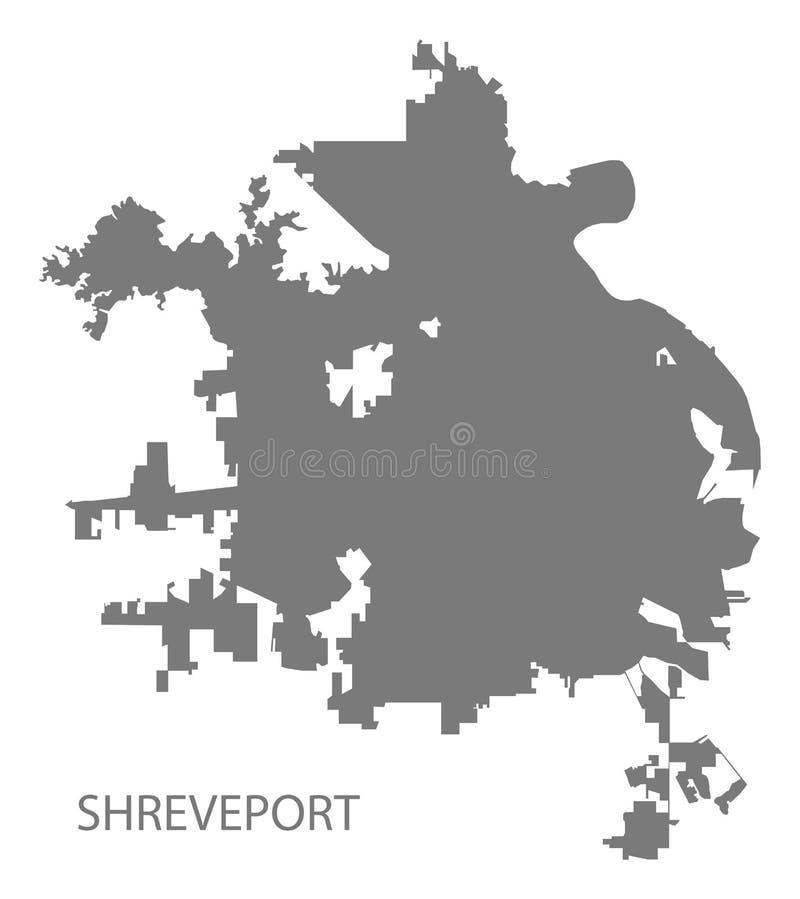 Γκρίζα μορφή σκιαγραφιών απεικόνισης χαρτών πόλεων του shreveport Λουιζιάνα απεικόνιση αποθεμάτων
