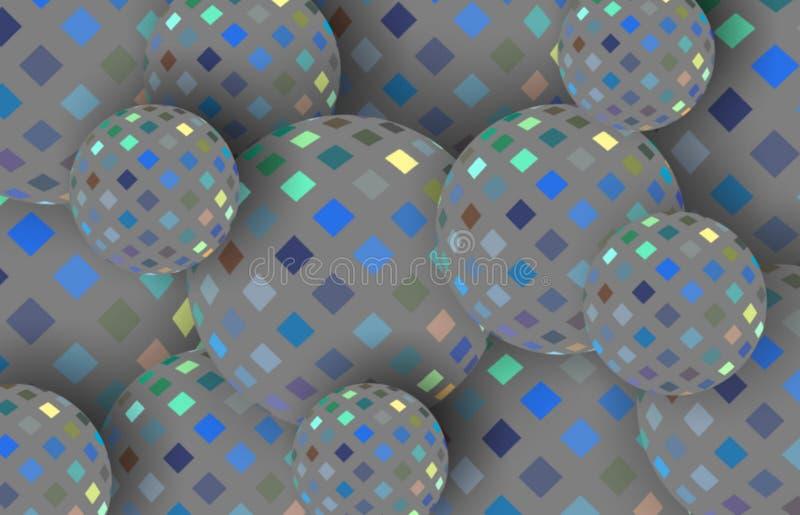 Γκρίζα μπλε τρισδιάστατη απεικόνιση σφαιρών κίτρινων μωσαϊκών Shimmer αφηρημένο υπόβαθρο απεικόνιση αποθεμάτων