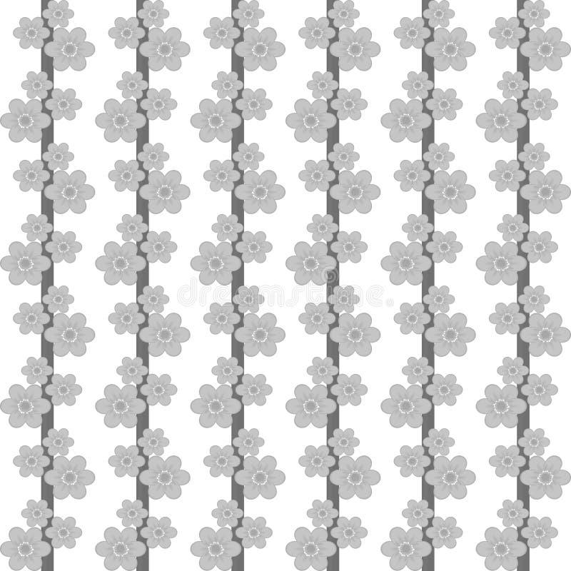 Γκρίζα λουλούδια σε ένα άσπρο υπόβαθρο διανυσματική απεικόνιση