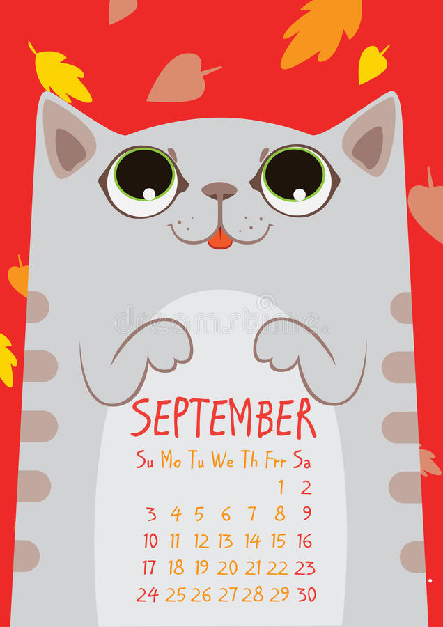 Γκρίζα ριγωτή χαριτωμένη γάτα κάτω από τα μειωμένα φύλλα Ημερολόγιο Σεπτεμβρίου απεικόνιση αποθεμάτων
