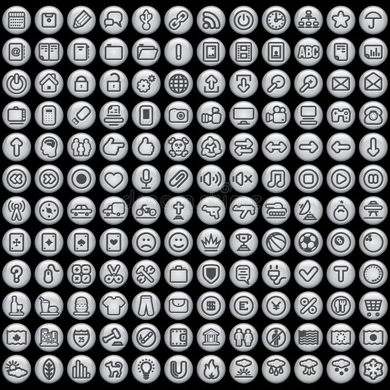Γκρίζα στρογγυλά κουμπιά ελεύθερη απεικόνιση δικαιώματος