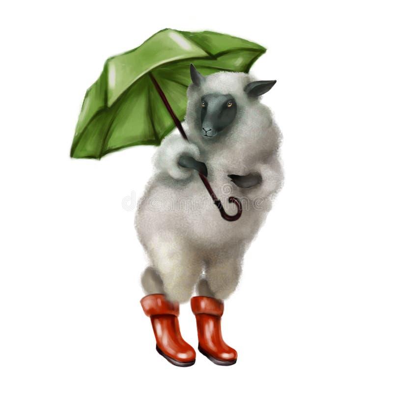 Γκρίζα χνουδωτά πρόβατα με τις πράσινες ομπρέλες στις κόκκινες λαστιχένιες μπότες φύλλο φίλων πτώσης φθινοπώρου κάτω από το καιρι διανυσματική απεικόνιση