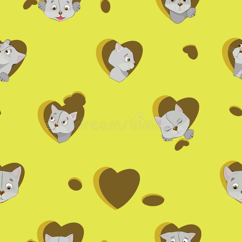 Γκρίζες γάτες κινούμενων σχεδίων στην καρδιά στο άνευ ραφής σχέδιο τυριών διανυσματική απεικόνιση