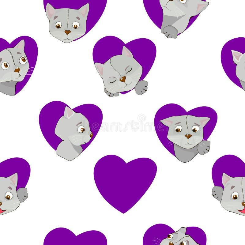 Γκρίζες γάτες κινούμενων σχεδίων στο άνευ ραφής σχέδιο καρδιών ελεύθερη απεικόνιση δικαιώματος