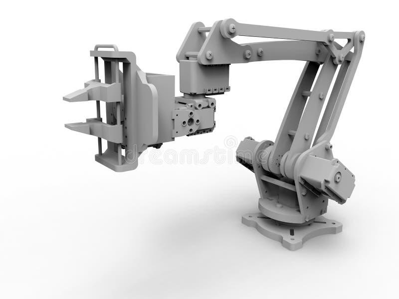Γκρίζος βιομηχανικός βραχίονας ρομπότ ελεύθερη απεικόνιση δικαιώματος