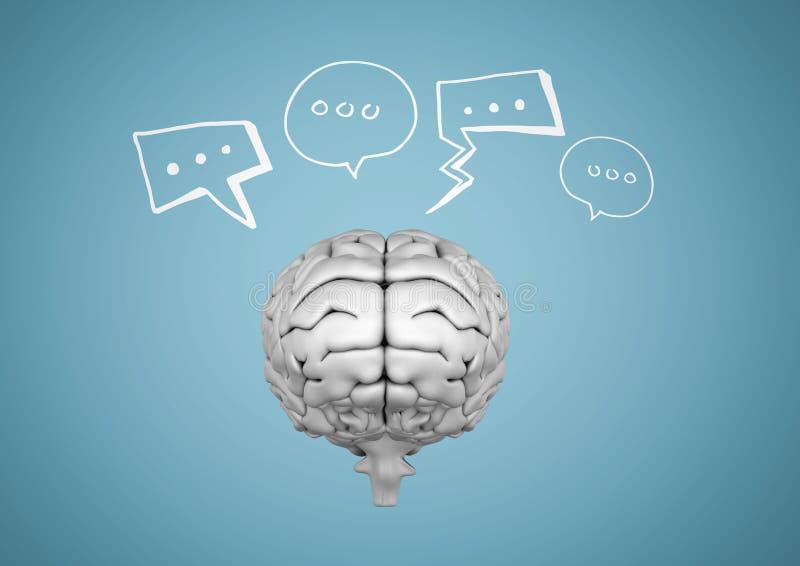 Γκρίζος εγκέφαλος με τις άσπρες λεκτικές φυσαλίδες στο μπλε κλίμα διανυσματική απεικόνιση