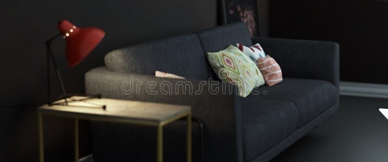 Γκρίζος καναπές με το λαμπτήρα στο κενό δωμάτιο στοκ φωτογραφίες με δικαίωμα ελεύθερης χρήσης