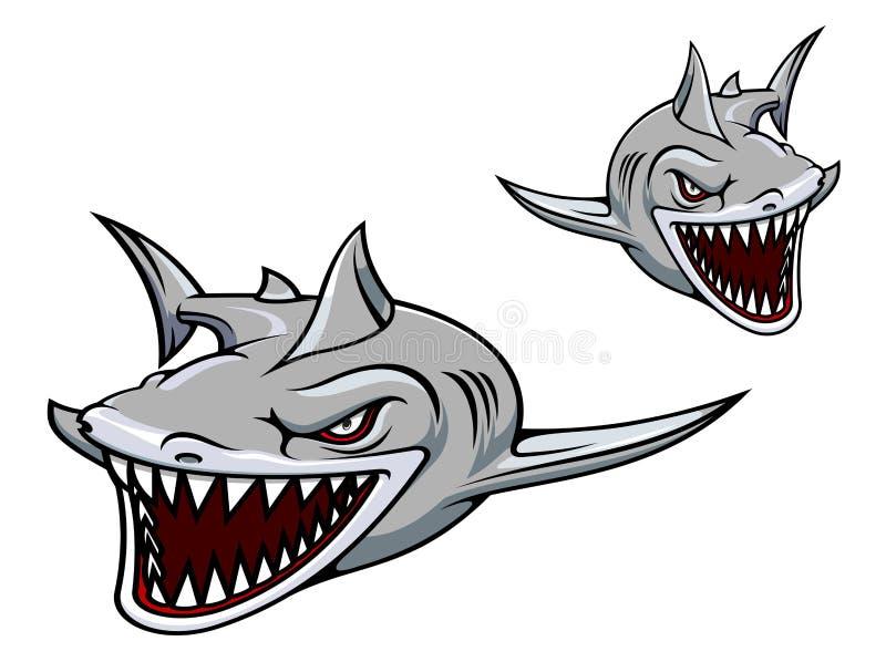 Γκρίζα μασκότ καρχαριών διανυσματική απεικόνιση