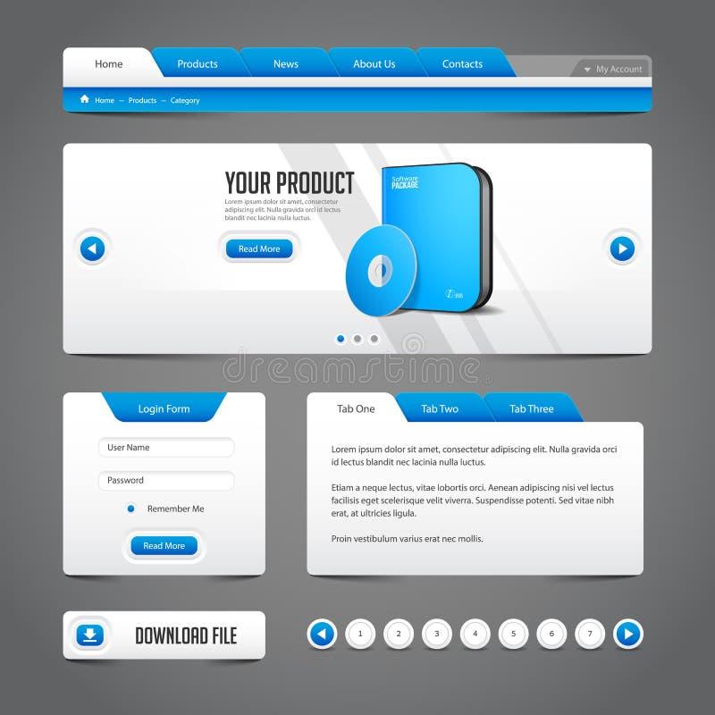 Γκρίζος μπλε γκρίζος στοιχείων σχεδίου ιστοχώρου στο σκοτεινό υπόβαθρο: Κουμπιά, μορφή, ολισθαίνων ρυθμιστής, κύλινδρος, ιπποδρόμ απεικόνιση αποθεμάτων