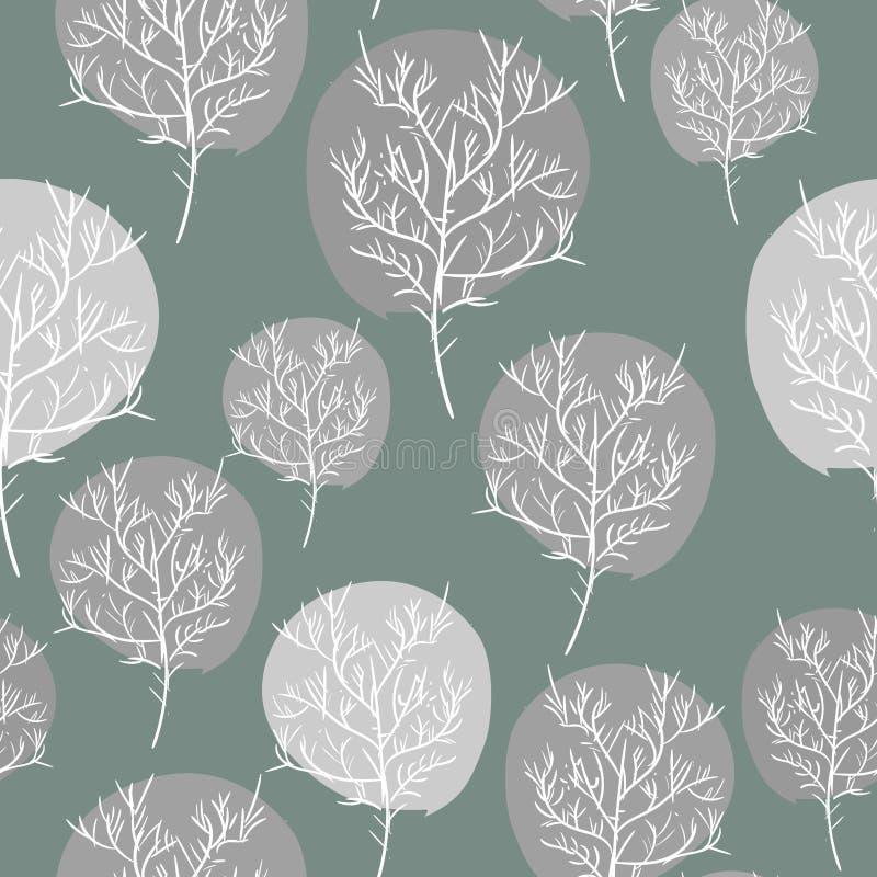 Γκρίζο αφηρημένο άνευ ραφής υπόβαθρο δέντρων Διανυσματική χλωρίδα σχεδίων ρ ελεύθερη απεικόνιση δικαιώματος
