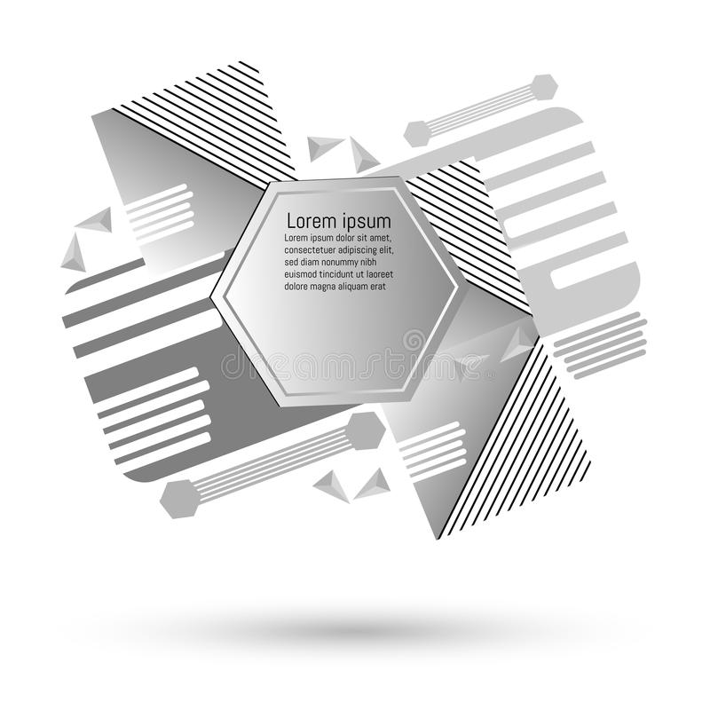 Γκρίζο αφηρημένο υπόβαθρο τέχνης με τα γεωμετρικά στοιχεία ελεύθερη απεικόνιση δικαιώματος