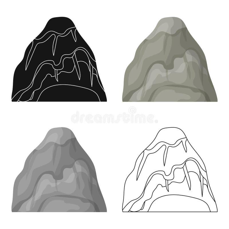 Γκρίζο βουνό πετρών Ένα βουνό στο οποίο εξήγαγε τα μεταλλεύματα Διαφορετικό ενιαίο εικονίδιο βουνών στο διανυσματικό σύμβολο ύφου απεικόνιση αποθεμάτων