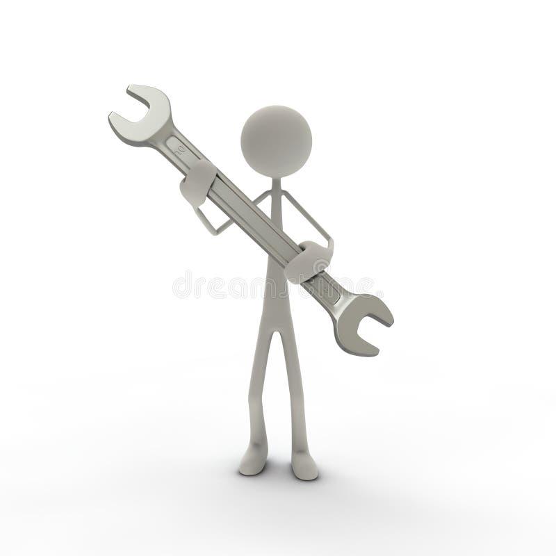 γκρίζο γαλλικό κλειδί β&iot ελεύθερη απεικόνιση δικαιώματος