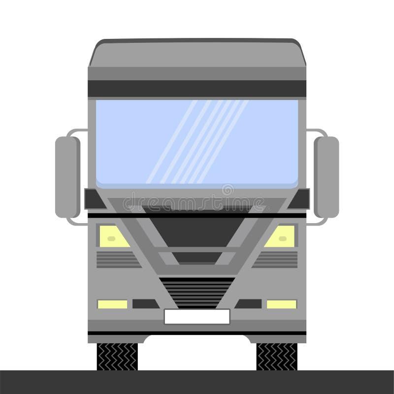 Γκρίζο εικονίδιο φορτηγών εμπορευματοκιβωτίων στο άσπρο υπόβαθρο Μπροστινή όψη Παράδοση φορτίου Αυτοκίνητο Eurotrucks που παραδίδ διανυσματική απεικόνιση