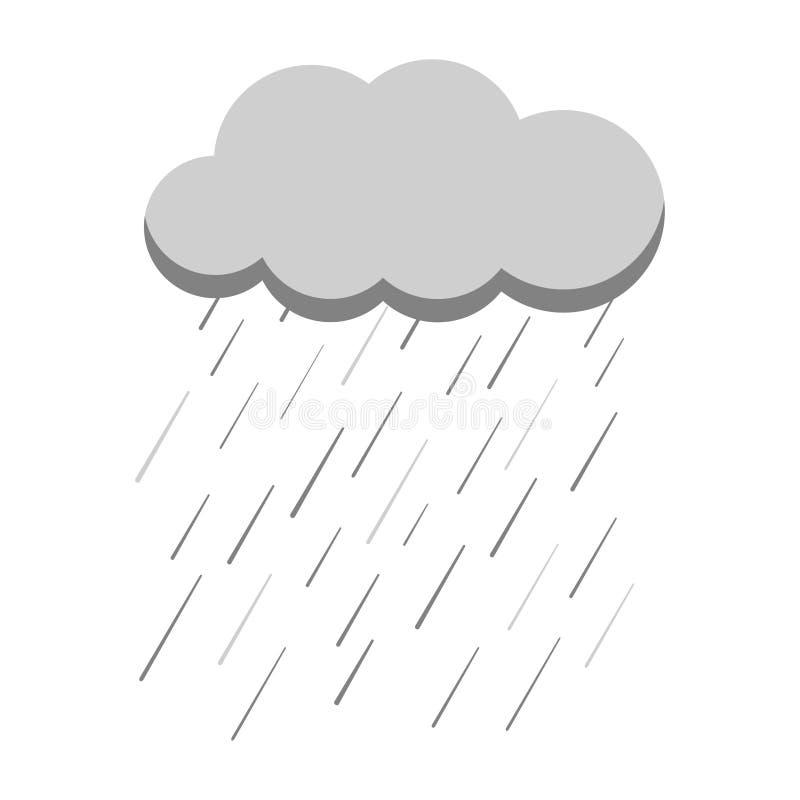 Γκρίζο εικονίδιο ύφους κινούμενων σχεδίων της βροχής με το σύννεφο που απομονώνεται στο άσπρο υπόβαθρο διανυσματική απεικόνιση