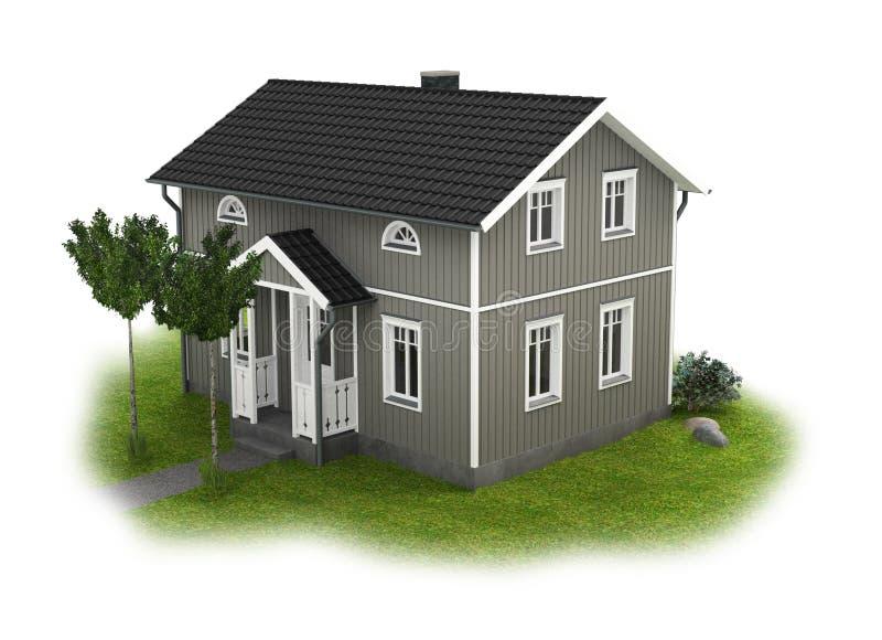 Γκρίζο εξοχικό σπίτι με τη λεπτομέρεια κήπων διανυσματική απεικόνιση