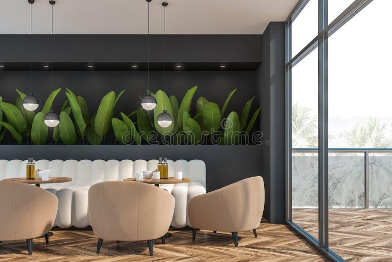 Γκρίζο εσωτερικό εστιατορίων με τις εγκαταστάσεις ελεύθερη απεικόνιση δικαιώματος