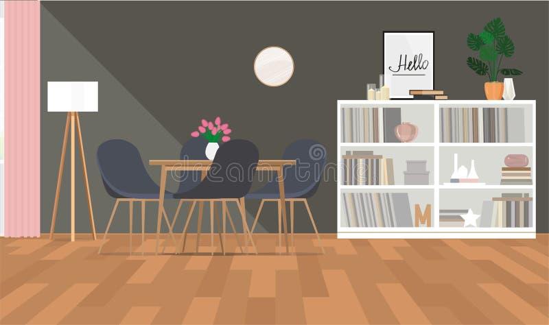 Γκρίζο εσωτερικό σχέδιο να δειπνήσει της περιοχής με τα λουλούδια και το ξύλινο ράφι διανυσματική απεικόνιση