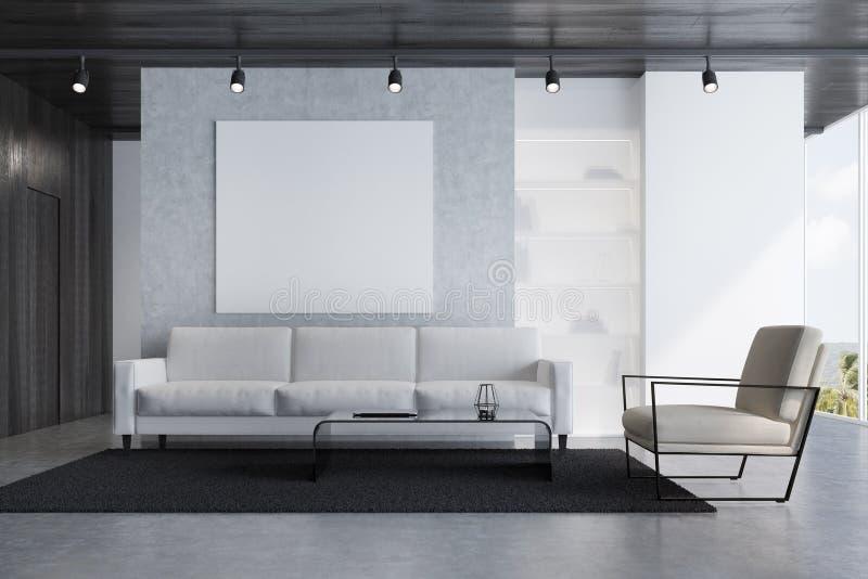 Γκρίζο καθιστικό καναπέδων με μια αφίσα ελεύθερη απεικόνιση δικαιώματος