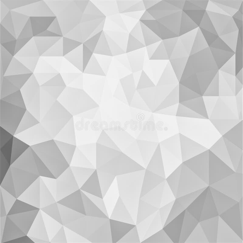 Γκρίζο και άσπρο χαμηλό πολυ σχέδιο υποβάθρου με τις μορφές τριγώνων διανυσματική απεικόνιση