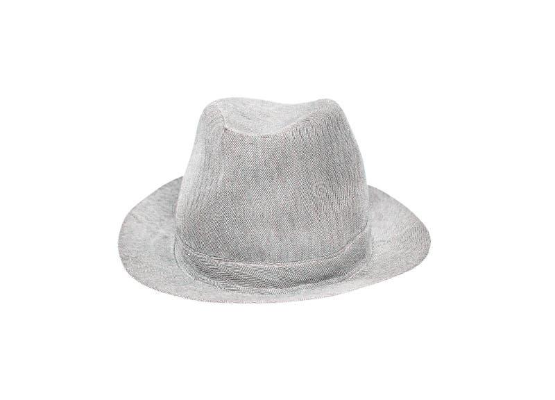 Γκρίζο καπέλο υφάσματος που απομονώνεται στο άσπρο υπόβαθρο με το ψαλίδισμα της πορείας στοκ εικόνες με δικαίωμα ελεύθερης χρήσης