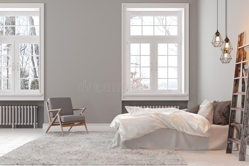 Γκρίζο κενό εσωτερικό κρεβατοκάμαρων σοφιτών Scandinavin με την πολυθρόνα, το κρεβάτι και το λαμπτήρα απεικόνιση αποθεμάτων