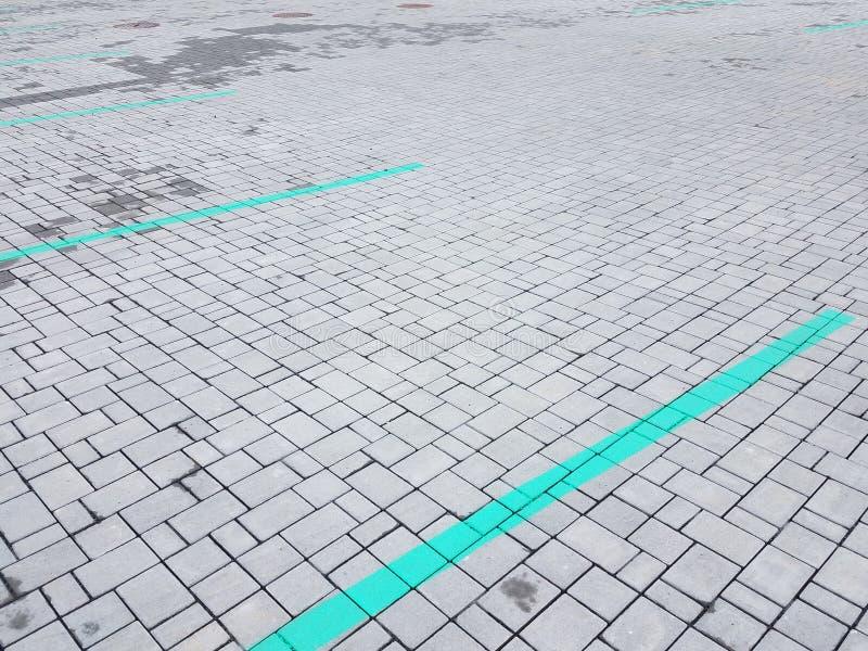 Γκρίζο ορθογώνιο κεραμιδιών πετρών και τετραγωνικές μορφές με τις Πράσινες Γραμμές στοκ εικόνες