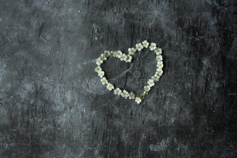 Γκρίζο πάτωμα τσιμέντου υποβάθρου μαρμάρινο θλιβερό Καρδιά συμβόλων που σχεδιάζεται με τα λουλούδια Ο αριθμός της καρδιάς είναι ε στοκ εικόνα