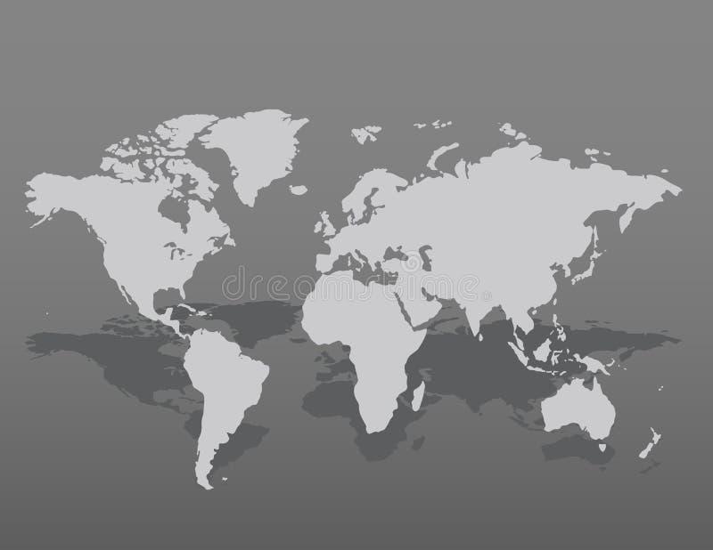 Γκρίζο παρόμοιο κενό παγκόσμιων χαρτών στο σκοτεινό υπόβαθρο επίσης corel σύρετε το διάνυσμα απεικόνισης ελεύθερη απεικόνιση δικαιώματος