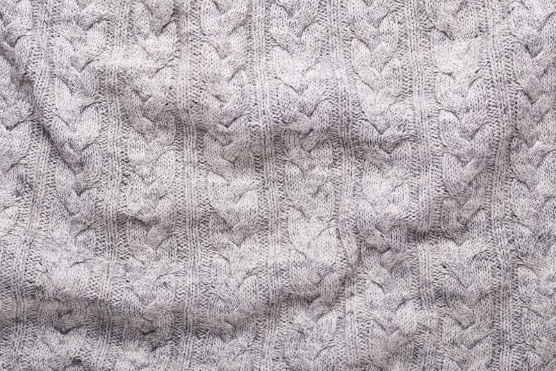 Γκρίζο πλεξίματος μαλλιού σύστασης υποβάθρου πλεγμένο υφάσματος διάστημα αντιγράφων άποψης σύστασης τοπ στοκ εικόνα με δικαίωμα ελεύθερης χρήσης