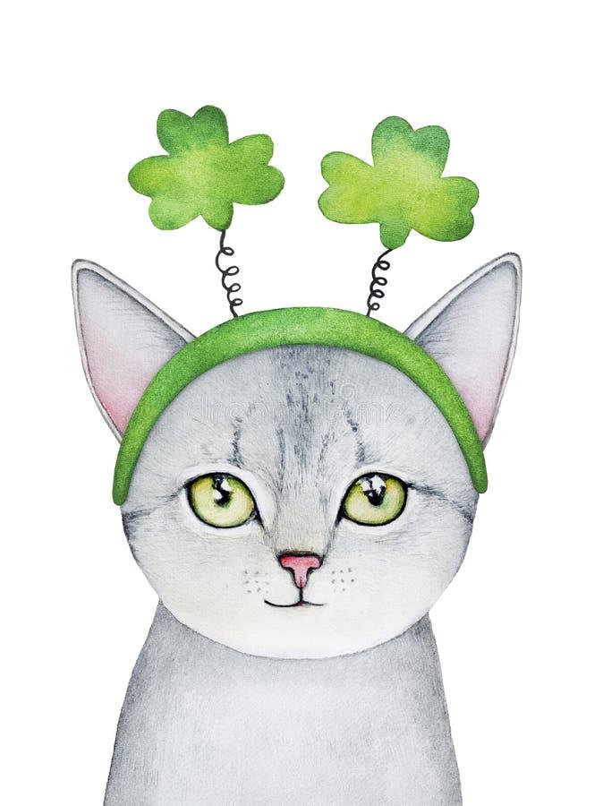 Γκρίζο πορτρέτο χαρακτήρα γατακιών που φορά το εορταστικό βοηθητικό, τυχερό σύμβολο τριφυλλιών διανυσματική απεικόνιση