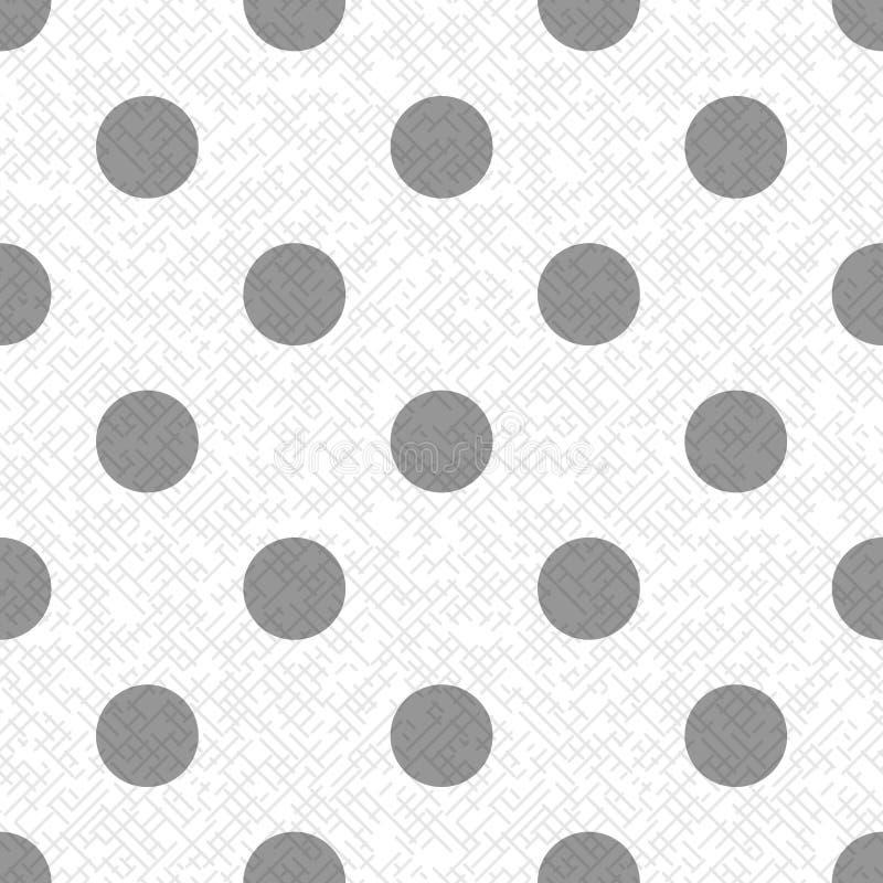 Γκρίζο σημείο Πόλκα σε ένα άσπρο και γκρίζο κατασκευασμένο διαγώνιο άνευ ραφής σχέδιο υφάσματος γραμμών, διάνυσμα απεικόνιση αποθεμάτων