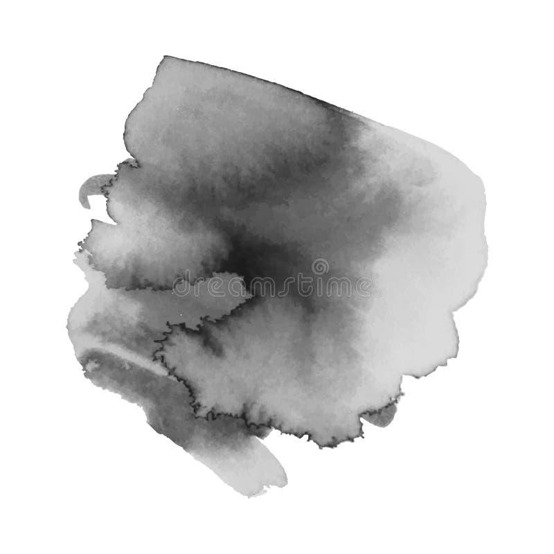 Γκρίζο σημείο watercolor με τα σταγονίδια, smudges, λεκέδες, παφλασμοί Λεκές Grayscale στο ύφος grunge απεικόνιση αποθεμάτων
