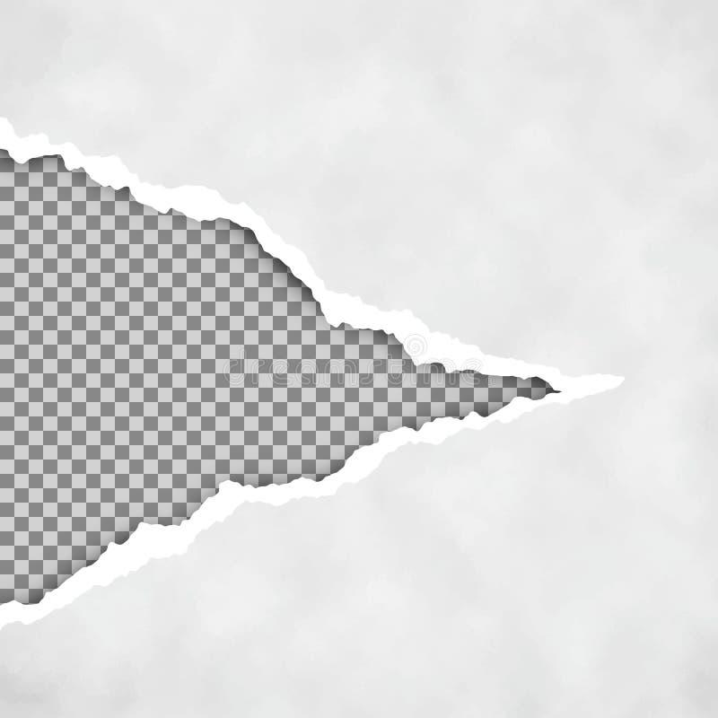 Γκρίζο σχισμένο ανοικτό έγγραφο με το διαφανές υπόβαθρο φύλλο εγγράφου που σχίζεται έγγραφο ακρών που σχίζεται σύσταση εγγράφου ε ελεύθερη απεικόνιση δικαιώματος