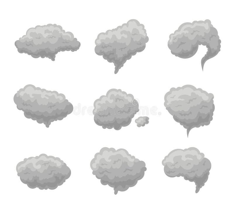 Γκρίζο σύνολο ομίχλης καπνού κινούμενων σχεδίων διάνυσμα απεικόνιση αποθεμάτων