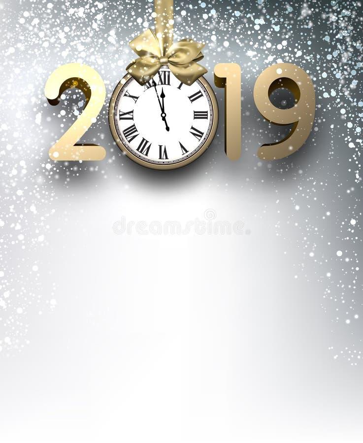 Γκρίζο υπόβαθρο έτους του 2019 νέο με το χρυσά ρολόι και το χιόνι απεικόνιση αποθεμάτων